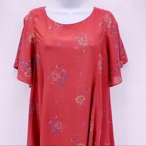 Kimchi Blue Dresses - Kimchi Blue Red Boho Floral Open Back Dress Sz M